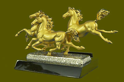 Hand Made 24K G THREE MUSTANG HORSES BRONZE MODERN ART DECOR SCULPTURE ABSTRACT