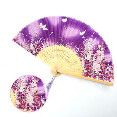 Chinese Japanese Folding Hand Held Fan Purple Fan Silk Plum Flower Bamboo Pocket