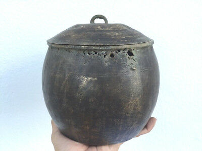 ANTIQUE RICE POT 170mm Borneo Brass Artifact Tribal Asia Native Cooker Cauldron