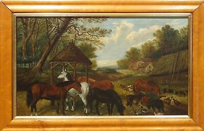 19th Century English Farm Horses Chicken Yard Antique Oil Painting J F HERRING