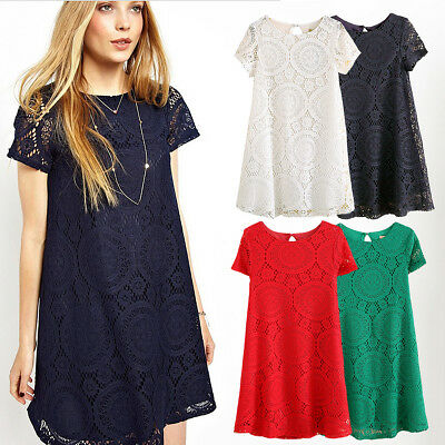 Women Short Sleeve Summer Casual Cocktail Evening Party Lace Mini Tops Dress