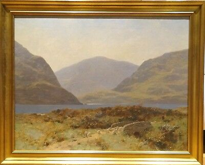 Large 19th Century Spring Highland Mountains Loch Landscape Sheep Oil Painting