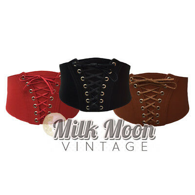 Ladies Waist Corset Cinched Belt Faux Leather Black Brown Red Pin Up