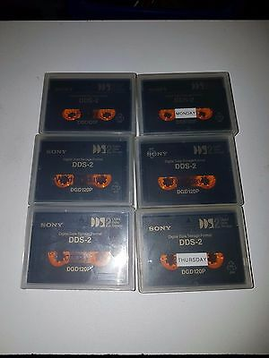 Lot Of 6 Used Sony Dds 2 Dgd120P Data Cassettes