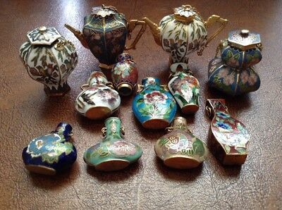 Superb Collection Of Chinese Miniature Cloisonné. 8 Vases, 2 Teapots And 2 Urns