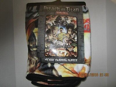 "Attack On Titan Group 45"" x 60"" Fleece Throw Blanket New With Tags!"
