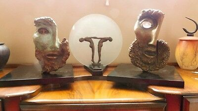 Set of Two Gorgeous Vintage Multimedia Bronze Statues w/ Patina Signed by Artist