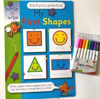 My First Shapes Wipe Clean Book + Dry Erase Wipe Clean Pens Marker Kids Children