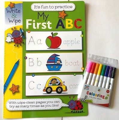 My First ABC Write & Wipe Book With 8 Dry Erase Wipe Clean Pens Letters Alphabet