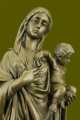 Hand Made Mother Mary Madonna With Baby Jesus Bronze Sculpture Figurine Figure