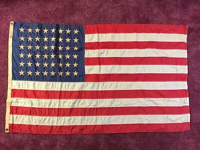 Rare WW2 Era 48 Star Flag Annin Nyl-Glo + Box Nylon 3' X 5' World War 2
