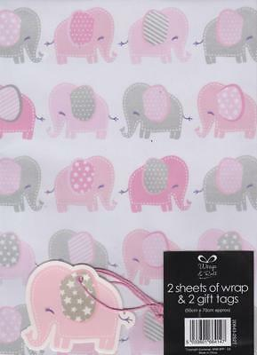 Baby Girl Gift Wrap Wrapping Paper 2 Sheets & Gift Tags Newborn Baby Shower Pink