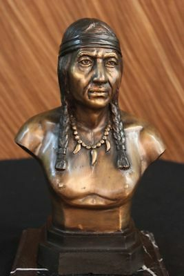Hand Made Indian Chief Bronze Bust Sculpture Statue Western Art Decor Figure