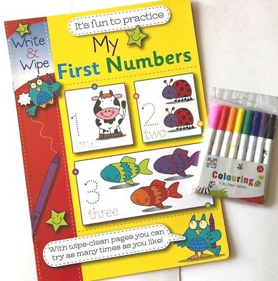 1-10 My First Numbers Write & Wipe Clean Book + 8 Dry Erase Pen Marker Kid Child