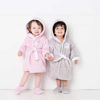 [NO TAX] Toddler Plush Robe and Slipper Set, 9/12month & 18/24month