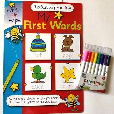 My First Words Write & Wipe Clean Book + 8 x Dry Erase Pens Markers Kids Child