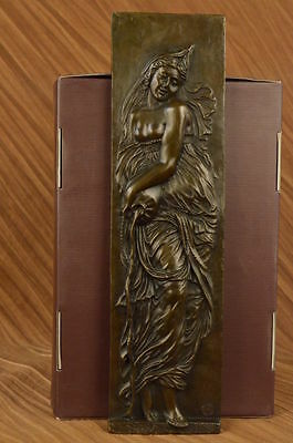 Hand Made Original Large Bas Plaque Gril Lady Face Bronze Sculpture Gift Set