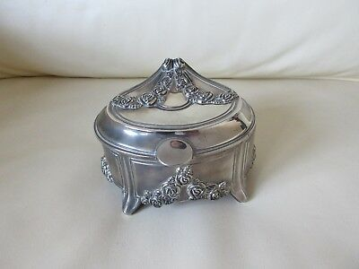 Vintage Art Deco Style Silver Plated Oval Trinket Box With Roses Decoration
