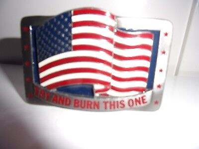 "C & J 1991 Belt Buckle ""TRY AND BURN THIS ONE"" 1453"