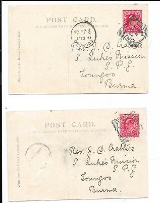 Burma 1904 Incoming Postcard From Uk To Toungoo ....2 Cards