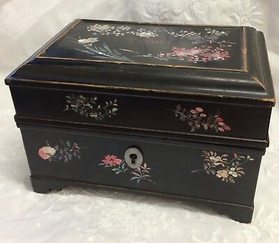 Antique French Lacquered And Mother Of Pearl Perfume Box