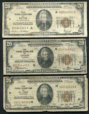 (3) 1929 $20 Frbn Federal Reserve Bank Notes