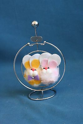 Rabbits hugging Dolls on A metal swing Table decoration vintage toy