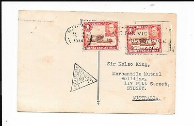 KENYA WWII 20c RATE COVER TO AUSTRALIA REFERENCE TO LADY BADEN-POWELL IN MESSAGE