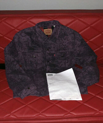 4658f29f SUPREME X LEVIS Snakeskin Trucker Jacket Purple Sz Large - $350.00 ...
