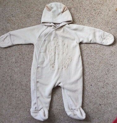 Baby Boys Fleece Pramsuit  Age 6-12 Months  Great Cond