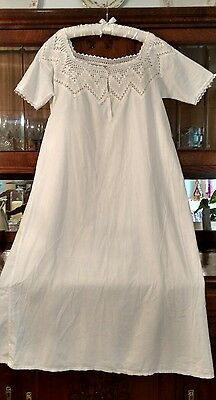 ANTIQUE-EDWARDIAN- 100%COTTON- VINTAGE -NIGHTGOWN-WITH-HAND-CROCHET  Size Large