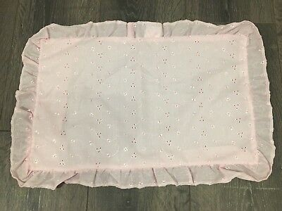 Baby Pram Pillowcase Pillow Case Pink Broderie Anglais Frilled Square