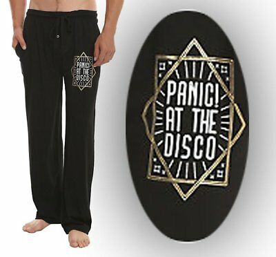 Mens Women Panic! At The Disco Logo Black Pajama Lounge Pants XS-2XL