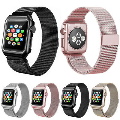 Milanese Stainless Steel Band Strap Watch Case For Apple Watch Series 3/2/1 UK