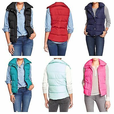 Old Navy Womens Frost Free Quilted Puffer Vest Black Blue Pink Teal S L XL XXL