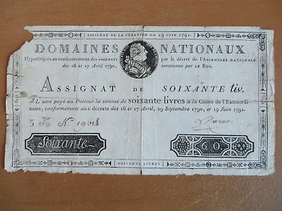 French Banknote / Assignat of 60 livres,1791 AD, DOMAINES NATIONAUX
