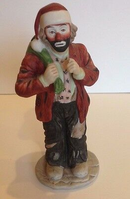 Emmett Kelly Collection Hobo Clown Ceramic Figure by Flambro. Approx. 8 Inches.