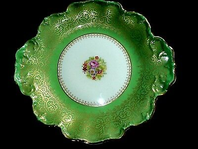 GEORGE JONES & SONS CRESCENT BONE CHINA 9 3/4in Green/Gold Plate/Sweet Dish 1938