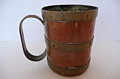 Antique Copper Mug with Brass Bands, circa 1880-1910.