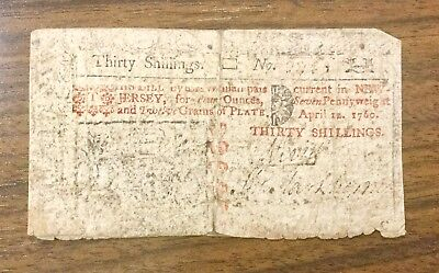 Thirty Shillings, April 12, 1760, New Jersey Colonial Note, Taped at tear, AS IS