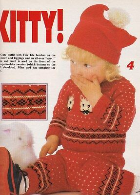 Child's 'pussycat' Sweater, Leggings,hat & Mittens Pattern For Machine Knitting