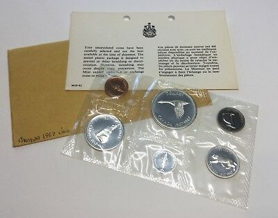 1967 Canada Proof-Like Set Uncirculated 6 Coins Royal Mint 80% Silver KM #65-70