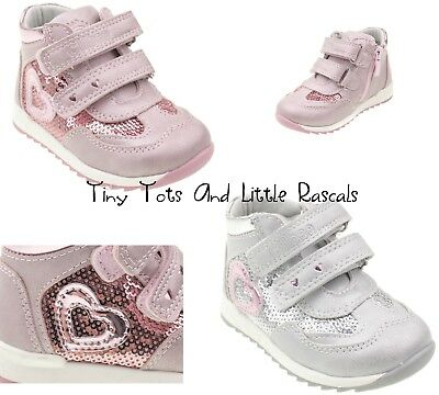 Toddler Girls Powder Pink Sequin Metallic Shoes Pumps Trainers Leather Insole