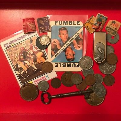 Old Junk Drawer Lot of Coins, Stamps, Cards