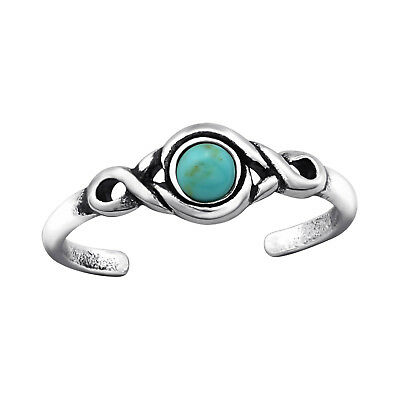 925 Sterling Silver Turquoise Round Stone Oxidised Texture Toe Ring Adjustable