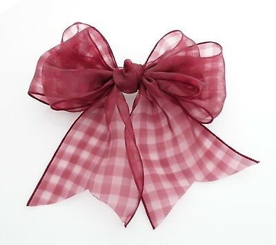 Organdy Fine Mesh Check Solid  Big Bow French Hair Barrette for Women