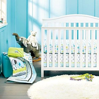 New Baby Boys 8 Pieces Elephant Theme Cotton Nursery Bedding Crib Cot Sets