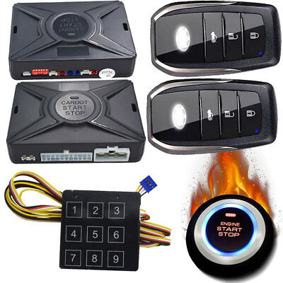 auto security keyless remote car starter shock sensor alarm and side door alarm