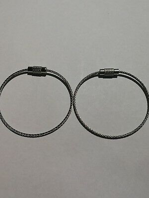 2pcs Stainless Steel Wire Rope Key Rings   Free Shipping daily, Gold Coast Qld