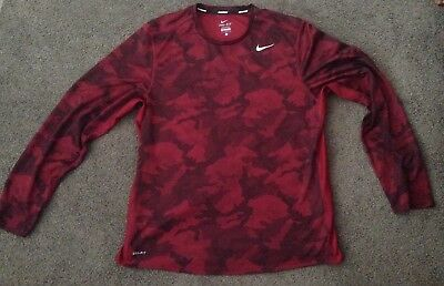 Nike Running Dri Fit Red Camo Long Sleeve Large Pre Owned *  Read Description